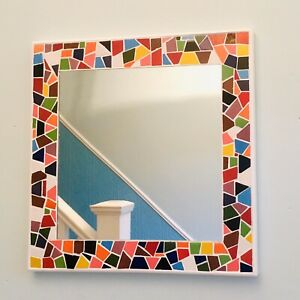 Hand-Made Multi-Coloured Mosaic Tiled Mirror. Bright and Colourful Square Mirror