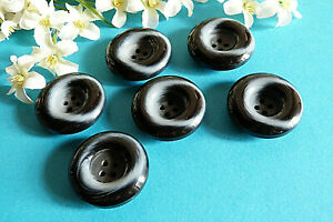 """225C/Stunning Buttons """" Smoke """" Black And Grey Lot 6 Buttons Ep. Vintage"""