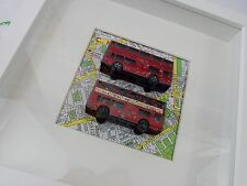 Chelsea - Vintage Shabby Chic Framed Toy Buses on Map of London