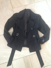 women's Kangol black double breasted jacket - size 8 VGC