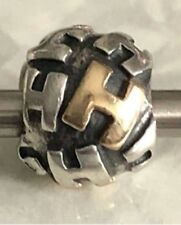 True Authentic Retired PANDORA Twotone INITIAL H Bead CHARM 790298H 925 & 14k