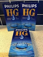 3 X Philips HG 180 3 Hour High Grade VHS PAL Video Cassette Tape Vintage