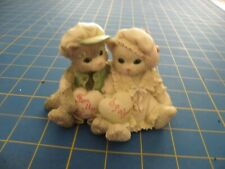 "Calico Kittens 4C1B/864 ""Paws-itively In Love"" Boy & Girl Hold Hearts Figurine"