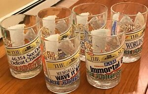 6 Baltimore Orioles Greatest Moments Drinking Glasses Complete Set Vintage EUC