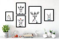 Woodland Party Animal Nursery Prints Wall Art, Peekaboo Baby Animals, Cute