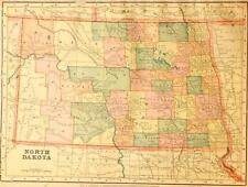 Beautiful Original 1899 North Dakota Large Color Map/10x14