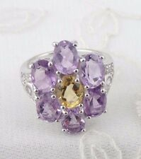 Flower Amethyst Citrine Gemstone Ring 925 Sterling Silver Size 7 New