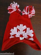 Bonnet / Chapeau hiver en polaire rouge doublé avec pompons H&M 62-68 cm 2-6M