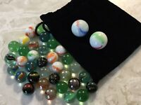 34 Mixed Marble Types 2 Shooters Black Drawstring Pouch (Pouch Is Not Original)