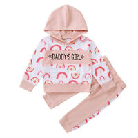 Newborn Kid Baby Girls Clothes Daddy's Girl Hooded Tops Pants Floral Outfits Set