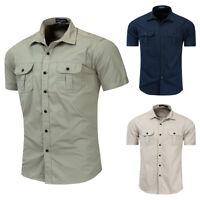 New Men's Cargo Shirt Short Sleeve Cotton Tops Military Shirt Work Outdoor Shirt