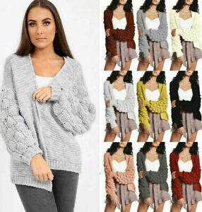 Ladies Women Italian Bobble Bubble Knit Sleeve Cardigan Chunky Knitted Jumper...