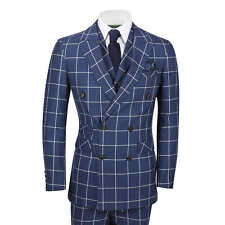 """Mens 3 Piece Double Breasted Suit White Window Pane Check on Navy Classic Retro Chest UK 42 EU 52 Trouser 36"""""""