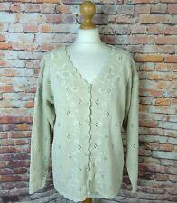 Vintage 90s Debbie Morgan beige cotton ramie embroidered v neck cardigan 14 S M
