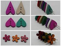 100 Mixed Color 2 Holes Wood Sewing Buttons Beads Flatbacks Scrapbooking
