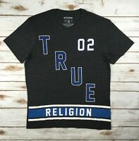 Mens True Religion Grey Heather T-Shirt Crew Graphic Logo Tee Top M L XL 2XL