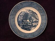 Vtg Currier Ives Royal China Blue & White Dinner Plate The Old Grist Mill