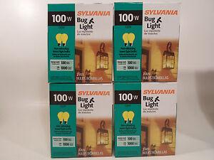 Yellow Bug Light Bulb 100W Watt Sylvania 8 Pack Outdoor Porch Non-attracting
