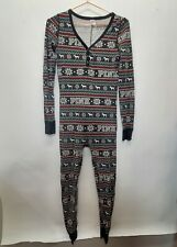 Victoria Secret PINK One Piece Small Jumpsuit Pajamas Long Johns fair isle