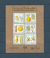 Tunisie  bloc  flore  fruit  folklore  de 1971  num: 6  dentelé   **