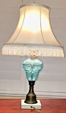 """Murano 21""""Glass Lamp,Mid-Century, Opaline  Blue, Brass Stand w/ Marble Base. VTG"""