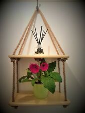 Pre-assembled Rustic Wooden Hanging Rope Shelf Handmade Solid Wood Room Decor