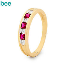 Ruby Diamond 9ct 9k Solid Yellow Gold Ring Size P 7.75 24932/cr