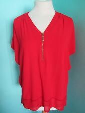 F&F LOOSE RED TOP V NECK WITH ZIP SHORT BAT WING SLEEVE SIZE 6