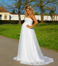 Vestido de Novia Sueño Estilo Campana Premamá Blanco Marfil Encaje 34-54