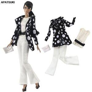 "Black Polka Dot Suit Clothes Set for 11.5"" 1/6 Dolls Outfits Jacket Pants Purse"