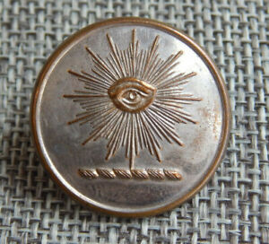 "Antique Vtg Religious Livery Button Seeing Eye Back Marked~Aprx:1""~#429-B"