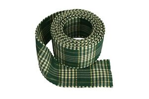 """4 Yards Rolled-up TARTAN PLAID With GOLD Stripes Wire Ribbon 1-1/2"""" Choose Color"""