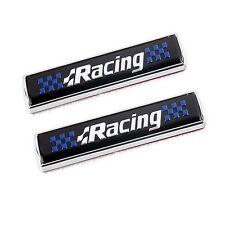 2pcs Black Racing Decal Fender Emblems ABS Car Side Sticker Badge