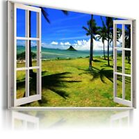 ALPS VILLAGE MOUNTAINS 3D Window Perfect View Canvas Wall Art Picture W30 MATAGA