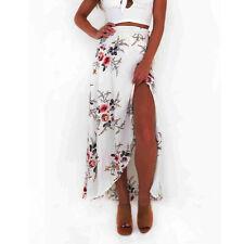 Women Floral Print Chiffon Maxi Dresses Split Beach Summer Dress Skirt #111