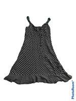 F&F Black/White Polka Dot Fit & Flare Dress Strappy Ruffle Frill Cute Sexy UK 14