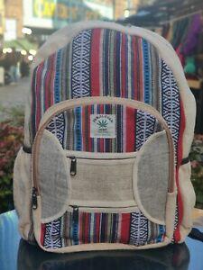 Hemp Bagpack natural pouch multicolored handmade organic sustainable vegan bag.