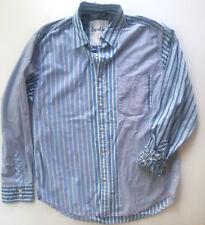Boden Mens Shirt Large Stripe Button Down Floral Flip Cuff Neon Stitching Cotton