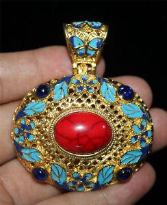 Chinese Tibetan silver Cloisonne handwork inlaid zircon Pendant QS