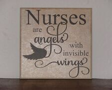 nurses are Angels with invisible wings, Decorative tile vinyl saying plaque sign