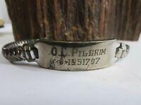 "Heavy WW2 Sterling Silver ID Bracelet Named O.C. Pilgrim 49 grams 8"" KCA5"