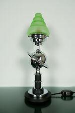 Art Deco Saturn Lamp, 1930s Machine Age, Bakelite, Uranium Glass Green Shade