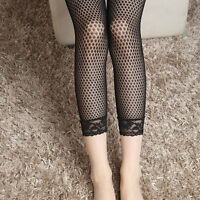 Women Fishnet Hollow-out black Sheer Cropped Leggings with lace 3/4 Length Pants