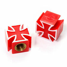 2 Red Iron Cross Wheel Tire Pressure Air Stem Valve Caps for Motorcycle-Bike
