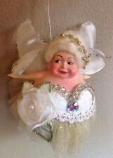 Katherine's Collection Light Green & Gold Fat Chubby Ballerina Fairy Ornament