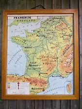 Splendido Vintage BIADESIVO mappa della Francia e Svizzera-Carta 1960's