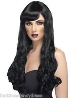 Halloween Sexy Vampiress Goth Witch Long Wavy Black Wig With Fringe Fancy Dress