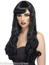 Halloween Femme Vampire Sexy Sorcière Gothique Long Ondulé Perruque noire
