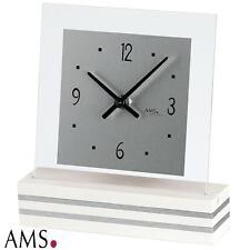 AMS Horloge de table 41 quartz blanc laqué base en bois élégante Montre 293
