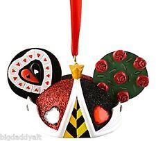 New Disney Villains Queen of Hearts Mickey Ear Hat Ornament Alice In Wonderland